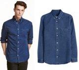 Рубашка джинсыов джинсовой ткани изготовленный на заказ оптового способа людей Китая самая последняя для людей