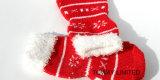 Anti chaussettes et chaussures d'animal familier de Noël de neige d'impression de pattes de dérapage