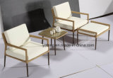 Novo Outdoor Wicker Rattan Furniture Chair Café Bar Coffee Set com otomano e mesa