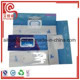 La bolsa de plástico lateral del papel de aluminio de la ventana del escudete para el empaquetado de las servilletas