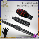 2017 profissional 3 em ferros quentes de 1 encrespador de cabelo da escova do cabelo cosmético cerâmico permutável da escova do Straightener do cabelo