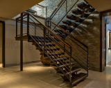 Escadaria reta dos trilhos de madeira e de vidro para a casa de campo
