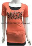 リベットを持つ女性のための細いTシャツ