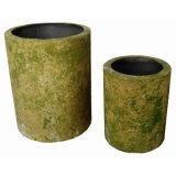 Antique Round Tin Garden Outdoor Flower Container Planter Pot