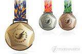 """Médailles blanc rondes en métal de l'époxy fait sur commande 3 """" avec la bande"""