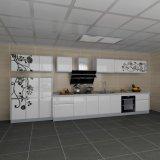 A cozinha branca Flowery linear da laca do projeto de Moden ajusta gabinetes de cozinha