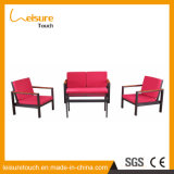 Le sofa en aluminium d'art de tissu de jardin de salon a placé pour les meubles extérieurs d'accoudoir en bois en plastique