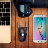 Nylon matériel 3FT/4FT de cowboy 8 câbles usb de remplissage rapides de caractéristiques de Pin pour iPhone6 6s 7 Samsung