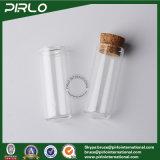 frasco de vidro do verificador de vidro desobstruído inferior redondo do perfume do petróleo essencial do tubo de ensaio 5ml com o frasco vazio do cosmético 5ml do bujão de madeira da cortiça