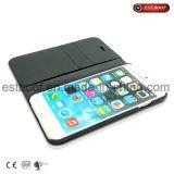 Caja de cuero de la fibra de Mirco que empalma con la ranura para tarjeta/el soporte para el iPhone
