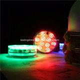 10 baterías ligeras sumergibles teledirigidas de la base del florero del partido del RGB SMD LED accionadas
