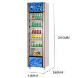 308L de verticale Showcase van de Deur van het Glas Enige met de Verbinding van de Deur van pvc