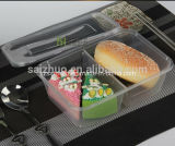 Recipiente descartável do alimento plástico desobstruído de 2 compartimentos (SZ-750)