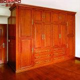 Guardarropa de madera tallado mano del dormitorio del armario de ropa de los muebles (GSP17-015)