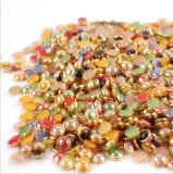 Наполовину вокруг перл с перлами плоской задней части оправы золота для конструкции искусствоа ногтя (цветы FB-4mm смешанные)