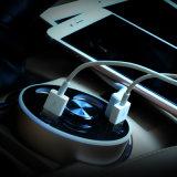 De Lader van de auto, 80W 2-haven de Slimme Lader van de Auto USB (Bekervormig Ontwerp, Intrekbare Kabel) voor allen