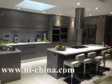 Mobília roxa elegante do gabinete de cozinha da cor