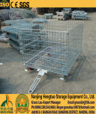 بكرة يغلفن فولاذ يطوي مستودع تخزين قفص, سلك وعاء صندوق, شبكة [ستورج كنتينر] قفص مع عمليّة جرّ