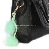 卸し売りのどの毛皮POM POM袋のアクセサリの緑の二重球のKeychainの宝石類のギフト