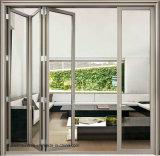 Puerta de plegamiento de madera de aluminio del grano del buen precio simple del surtidor de China
