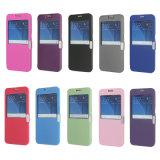 Cubierta del tirón de la opinión de ventana abierta del doble del fabricante de la caja del teléfono celular para el iPhone 7