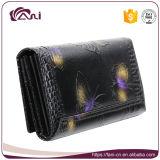 De Zwarte Portefeuille van uitstekende kwaliteit, Beurs van de Portefeuille van het Leer van de Koe van Vrouwen de Echte met Afgedrukte Vlinder