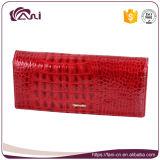 Borsa su ordinazione della frizione, raccoglitore rosso della frizione della borsa della mano del cuoio genuino di alta qualità di Fani