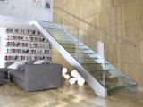 Escadaria de vidro da forma Integrated de U com o passo de vidro antiderrapante da longarina do aço inoxidável