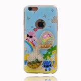 Do coração líquido do Quicksand dos vidros caixa transparente do telefone de pilha de /Rabbit/Stitch/Lips TPU para os acessórios do iPhone (XSDD-073)