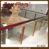 Moderner Entwurfs-InnenEdelstahl und hölzernes Glasgeländer für Treppe (SJ-H011)
