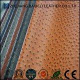 Кожа конструкции PVC/PU страуса для мебели и мешок с огнестойкостью