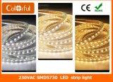 Luz de tira flexible de RoHS el 120LEDs/M AC220V SMD5730 LED del Ce