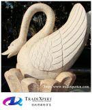 Sculpture animale en cygne découpée par main de marbre blanche pure en pierre normale avec personnalisé