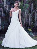 Vestidos de noiva com decote em V do ombro Vestido de noiva de cetim simples S201705