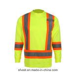 T-shirt van de Veiligheid van Midium van de vervaardiging de Lange Weerspiegelende