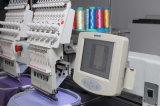 Bester Hauptentwurf zwei für Schutzkappe und flache Stickerei-Maschinen-Stickerei-Maschine für Verkauf