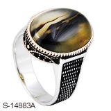 Alta qualità 925 anelli degli uomini d'argento di Squre con l'agata naturale