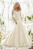 Faits sur commande Mori Lee 3/4 manches Mermaid satin dentelle élégante robe de mariée (Dream-100053)
