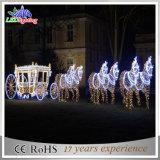 Im Freien Weihnachtsdekorativer Pferdeschlitten und Weihnachtslicht der Ren-Dekoration-LED