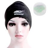 2016耳の監視(CAP-1102)が付いている黒く大きいカスタマイズされたシリコーンの水泳の帽子