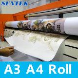 papel de transferência do Sublimation do rolo de 100GSM A3 A4 para a impressão do t-shirt