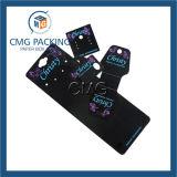 Tarjeta plástica negra modificada para requisitos particulares de la exhibición de la joyería del PVC (CMG-035)