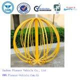 Soporte/estante cubiertos polvo del estacionamiento de la bici del amarillo de la bola del círculo