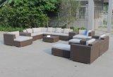 H中国の新しい屋外の庭の家具の柳細工のソファーセット