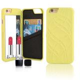 Caja de cuero del teléfono del espejo del maquillaje del portatarjetas de la PU de la carpeta delgada para el iPhone 6 6s más