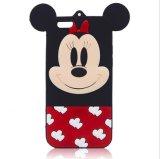 caisse molle de téléphone du dessin animé 3D de silicones mignons de Mickey Minie pour le cas d'iPhone (XSD-069)