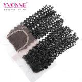 Brasilianische lockiges Haar-Bündel mit Spitze-Schliessen