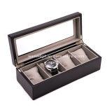 Caso superior de vidro de madeira do armazenamento do indicador da caixa de relógio 4-Slot do Mens
