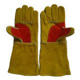 Goldene lederne Handschutz-Hochleistungsschweißhandschuhe