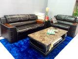 Sofa à la maison de salle de séjour de meubles avec le cuir véritable avec en bois